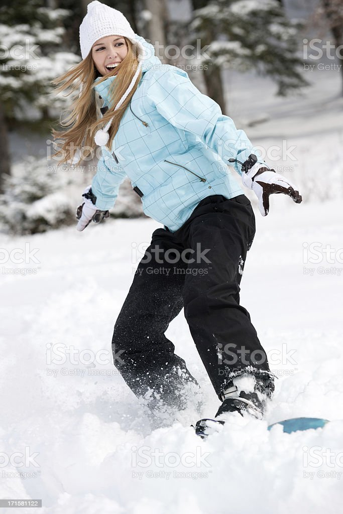 Beautiful Female Snowboarder royalty-free stock photo