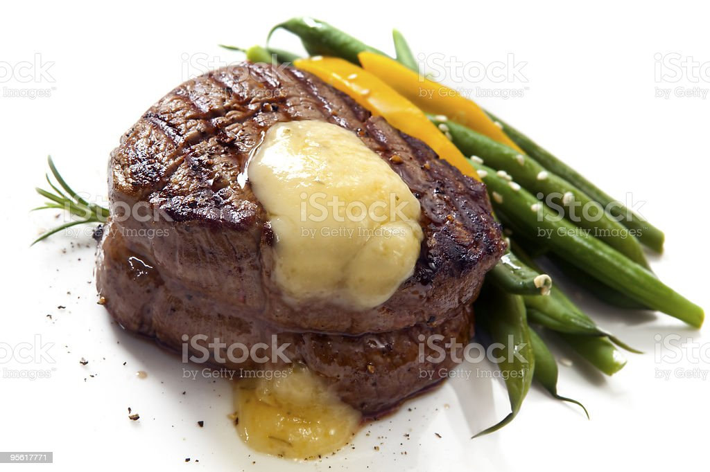 Beautiful filet mignon with asparagus stock photo