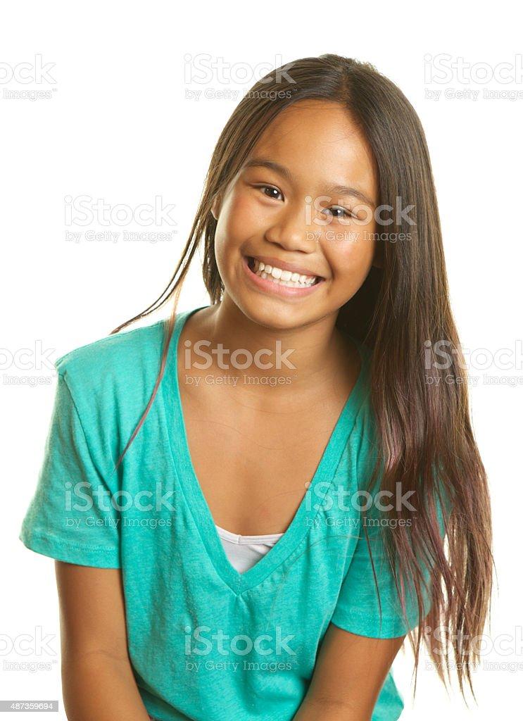 Beautiful Filipino Girl on a White Background Smiling stock photo
