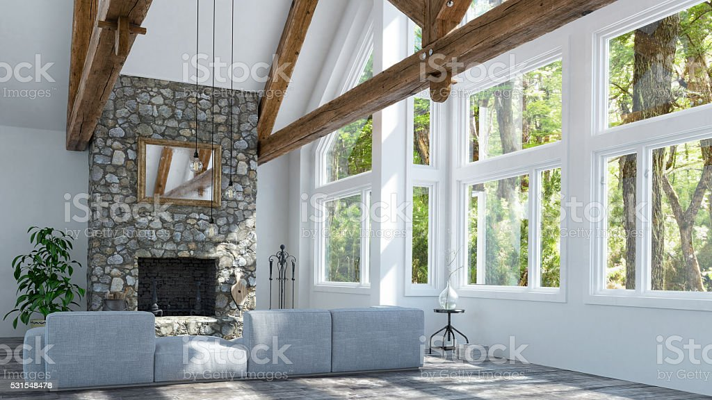 Beautiful fireplace in modern cottage stock photo
