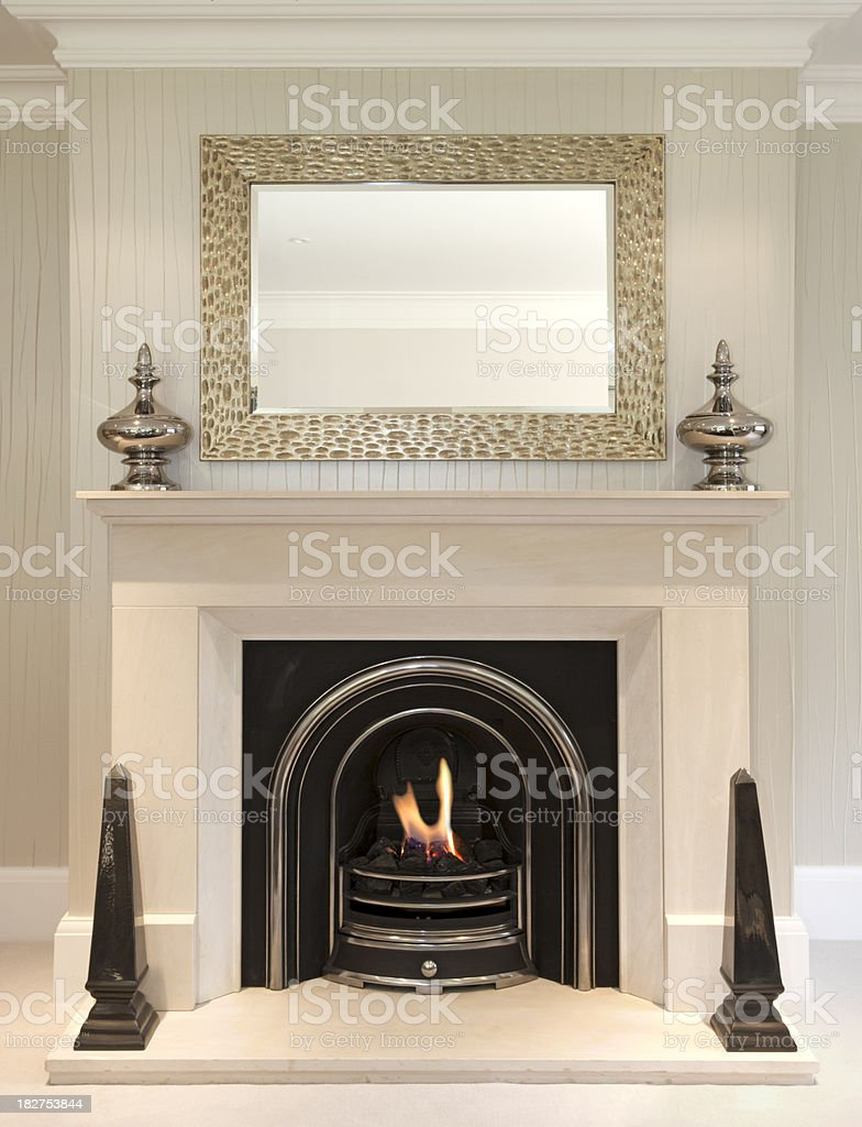 beautiful fireplace stock photo