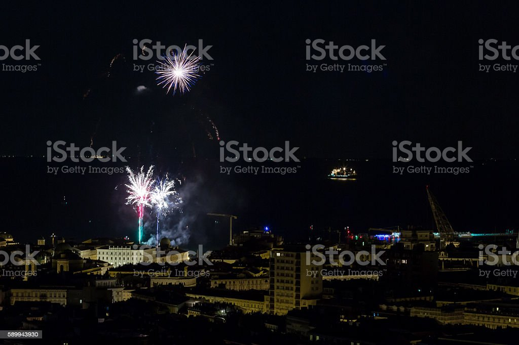 Beautiful firework display on celebration night in Trieste, Italy stock photo