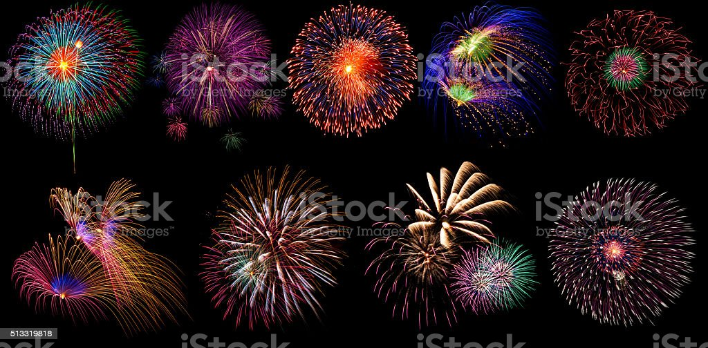Beautiful firework set on black background stock photo