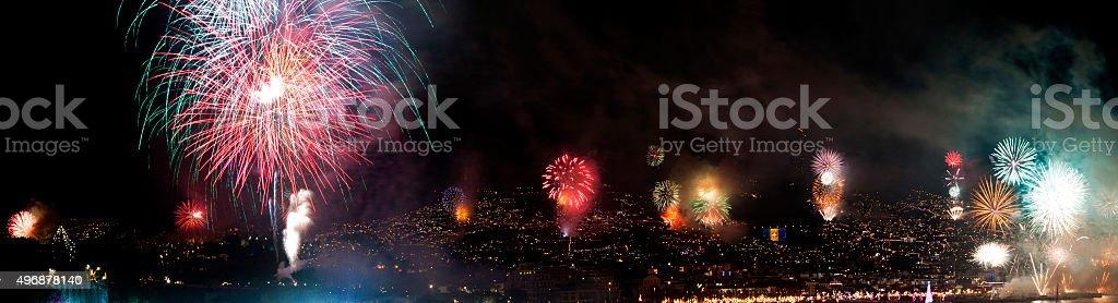 Beautiful Fireworks Background-Display stock photo