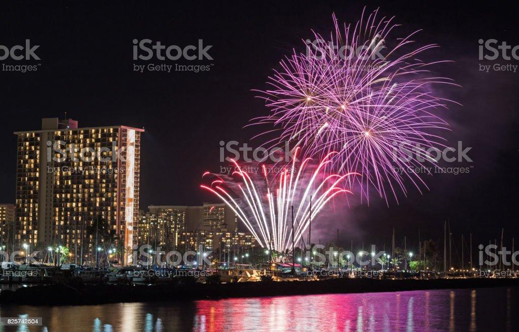 Beautiful fireworks captured at Magic Island, Honolulu, Hawaii, USA stock photo