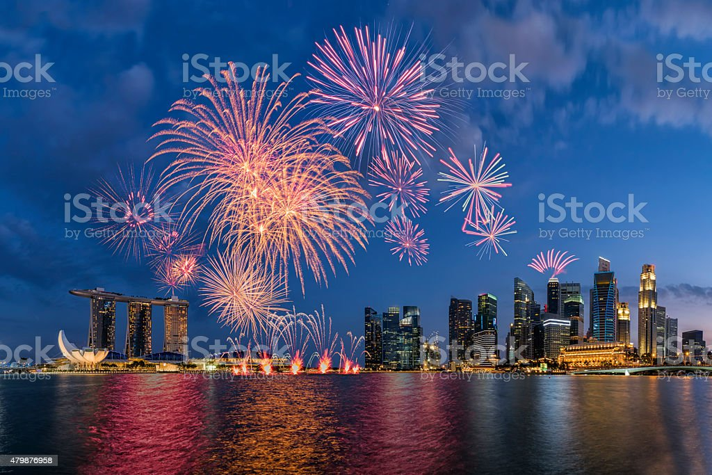 Beautiful fireworks in Marina Bay at Singapore stock photo