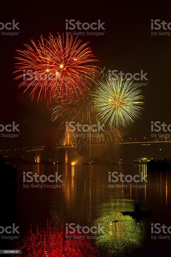 Beautiful fireworks. royalty-free stock photo