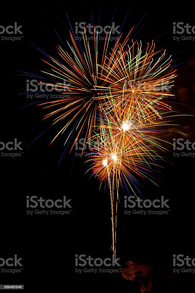 Beautiful Fireworks show at the night sky,happy new year stock photo