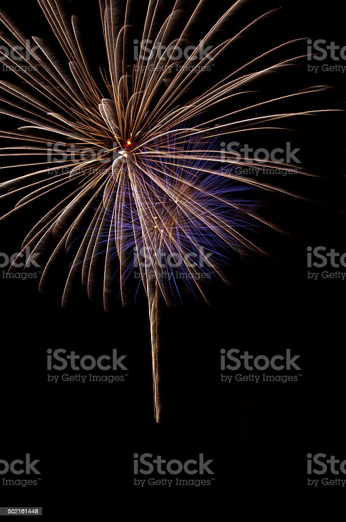 Beautiful Fireworks show in the night sky,new year festival stock photo