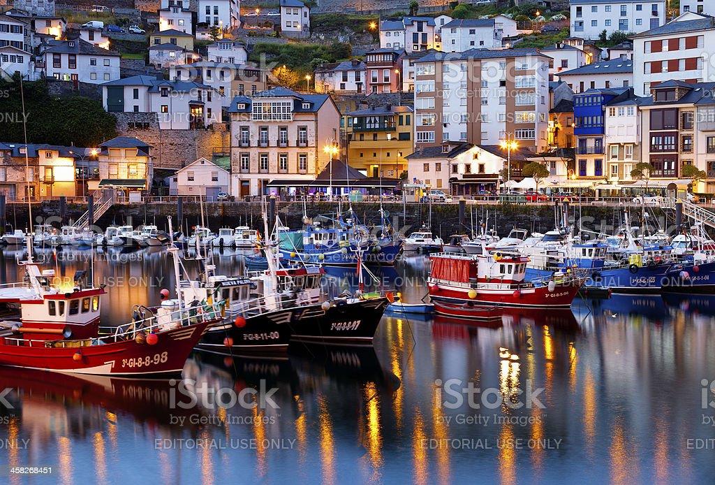 Beautiful fisherman's harbour of Luarca.Asturias,Spain. stock photo