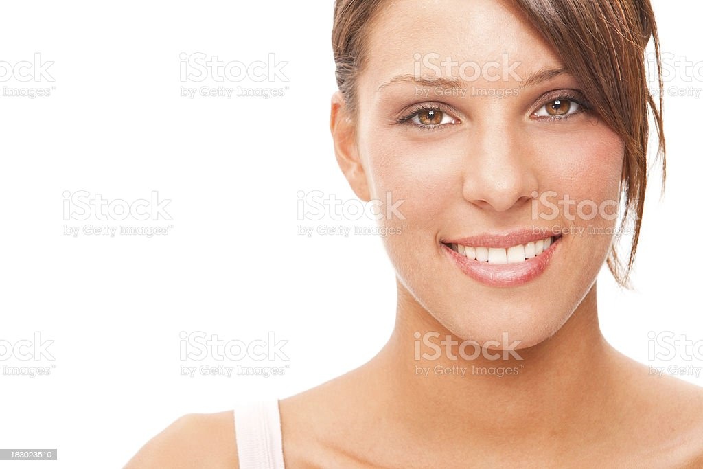 beautiful fitness sporty brunette girl closeup smile isolated on white royalty-free stock photo