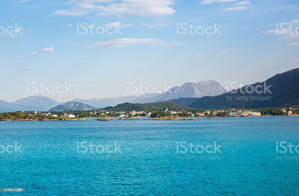 beautiful fjord in Norway near Alesund stock photo