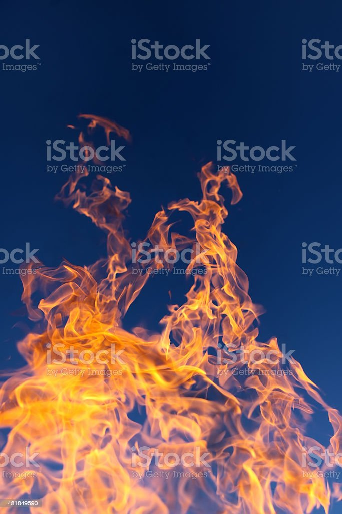 Beautiful flame and blue sky stock photo