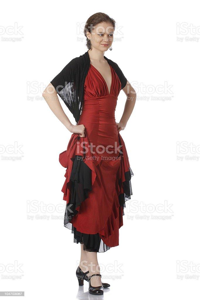 Beautiful flamenco dancer. Dancing contest. stock photo