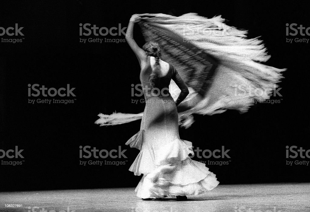 A beautiful flamenco dancer with her shawl stock photo