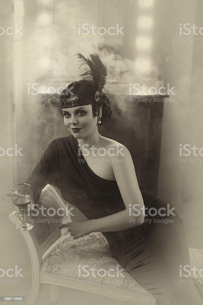 Beautiful Flapper girl stock photo