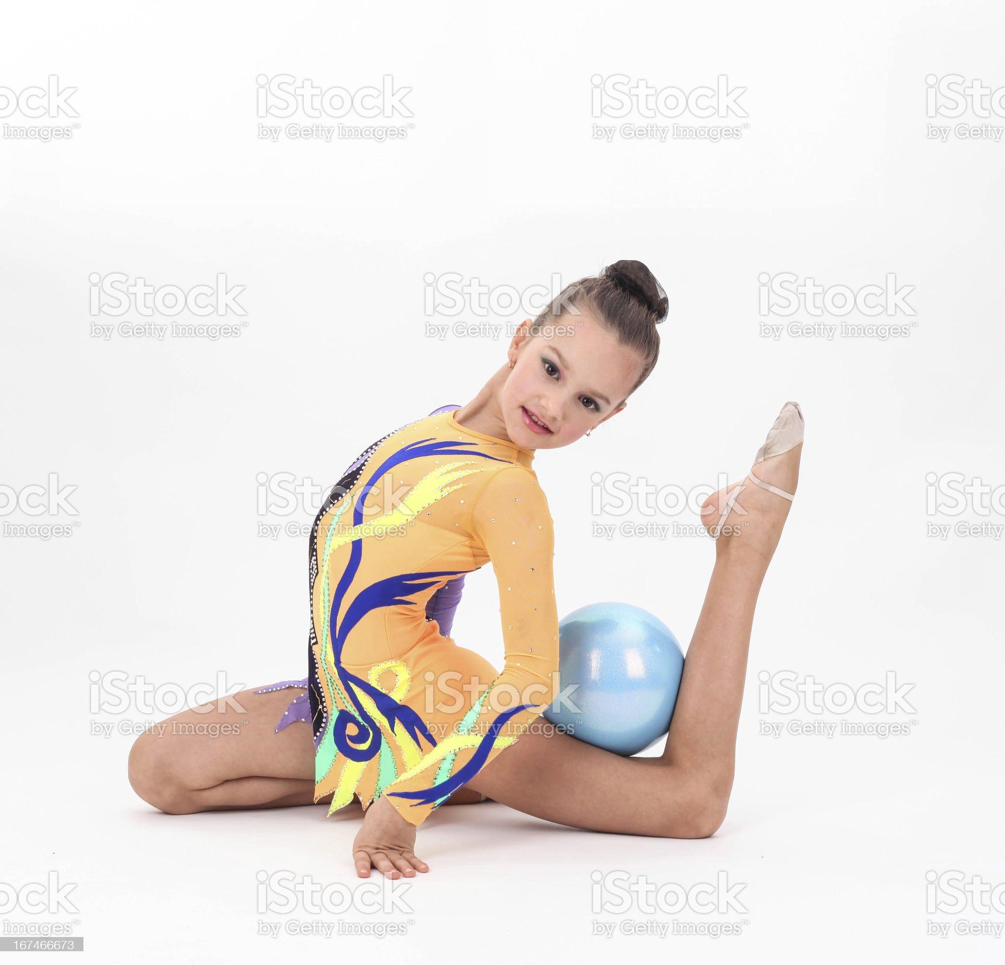 Beautiful flexible girl gymnast royalty-free stock photo
