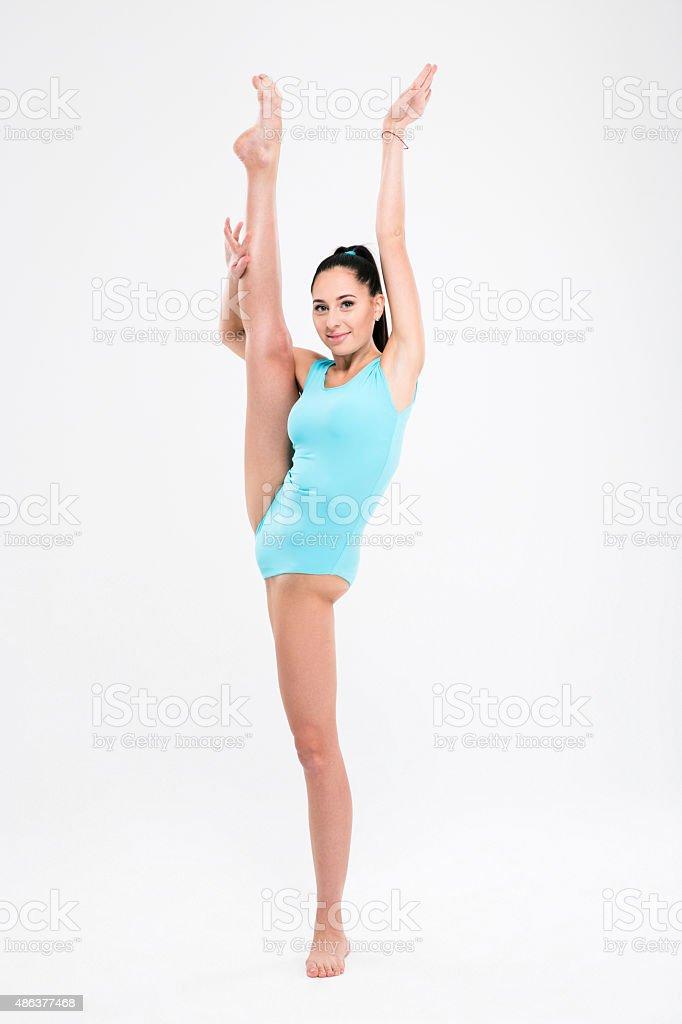 Beautiful flexible girl gymnast stock photo