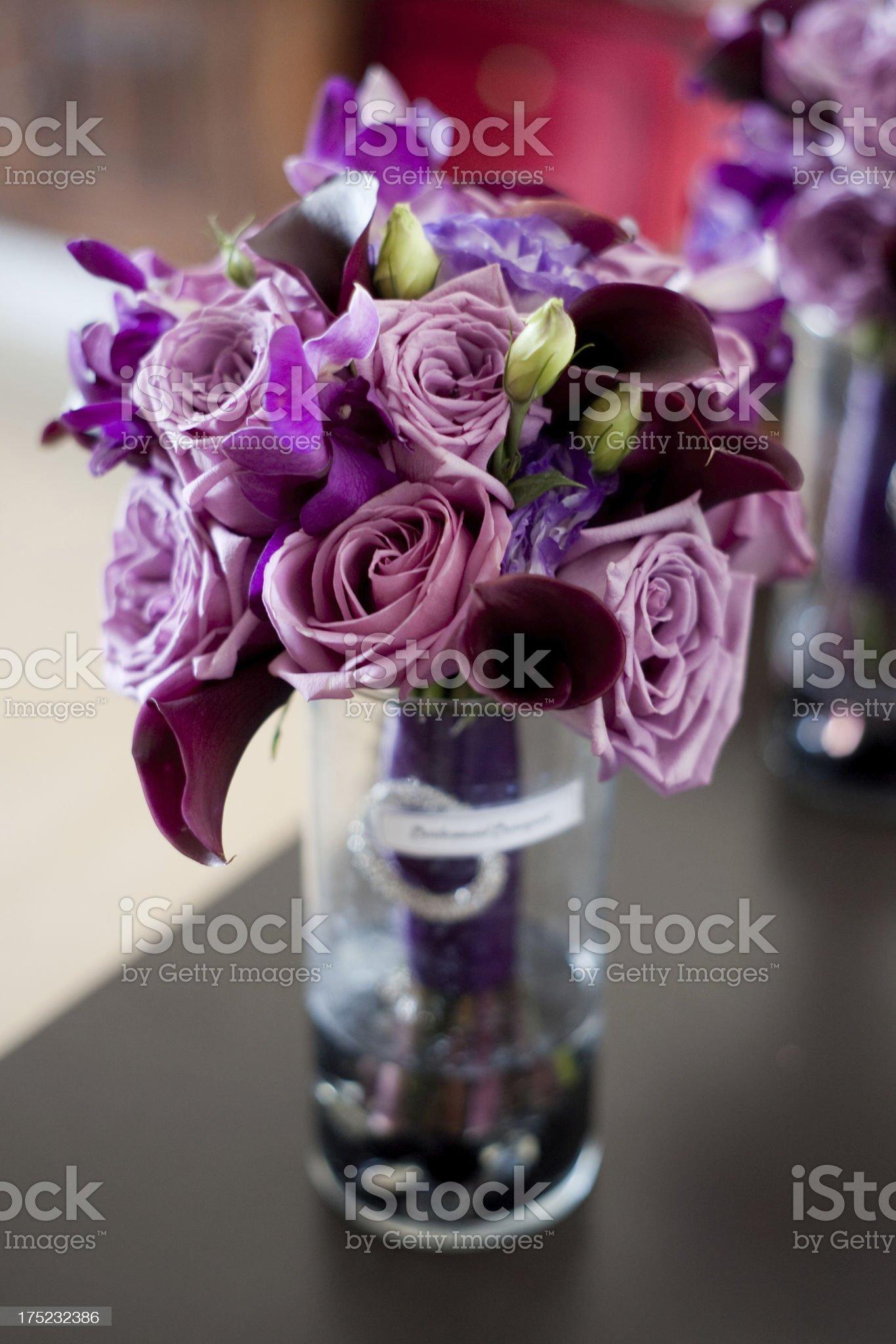 Beautiful Floral Arrangement Bridal Bouquet of Purple Flowers royalty-free stock photo