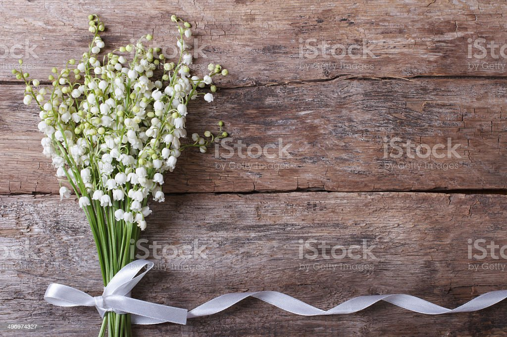 Beautiful floral frame with lilies of the valley stock photo