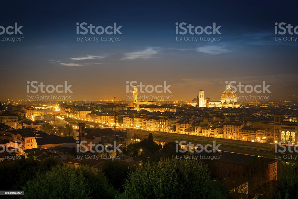 Beautiful Florence at night, Italy royalty-free stock photo