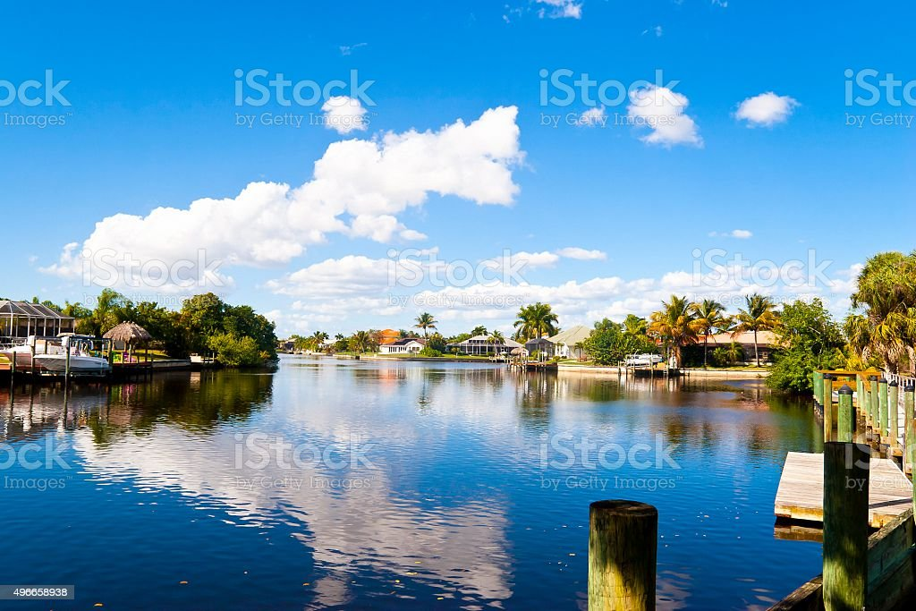 Beautiful Florida Canal with Homes and Boats stock photo