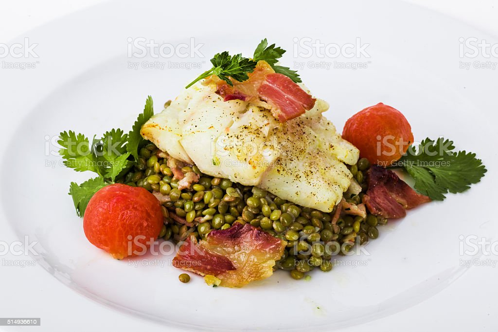 beautiful flow of white fish fillet stock photo