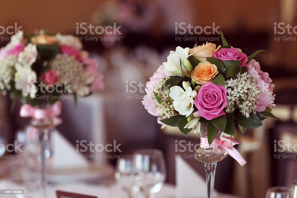 Beautiful flower bouqet decoration on table stock photo