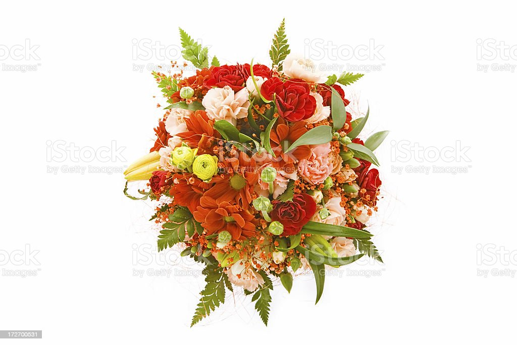 beautiful flower bouquet on white background stock photo