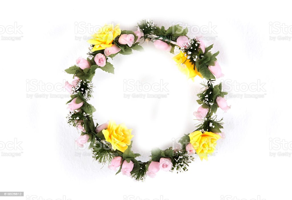 Beautiful Flower Crown isolated on white background stock photo