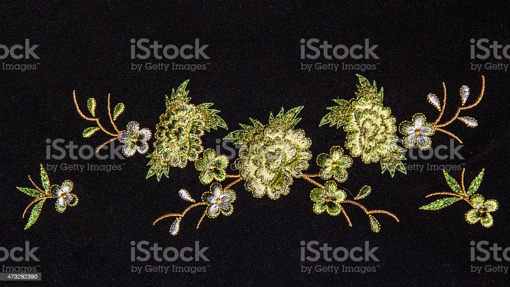 Beautiful flower embroider stock photo