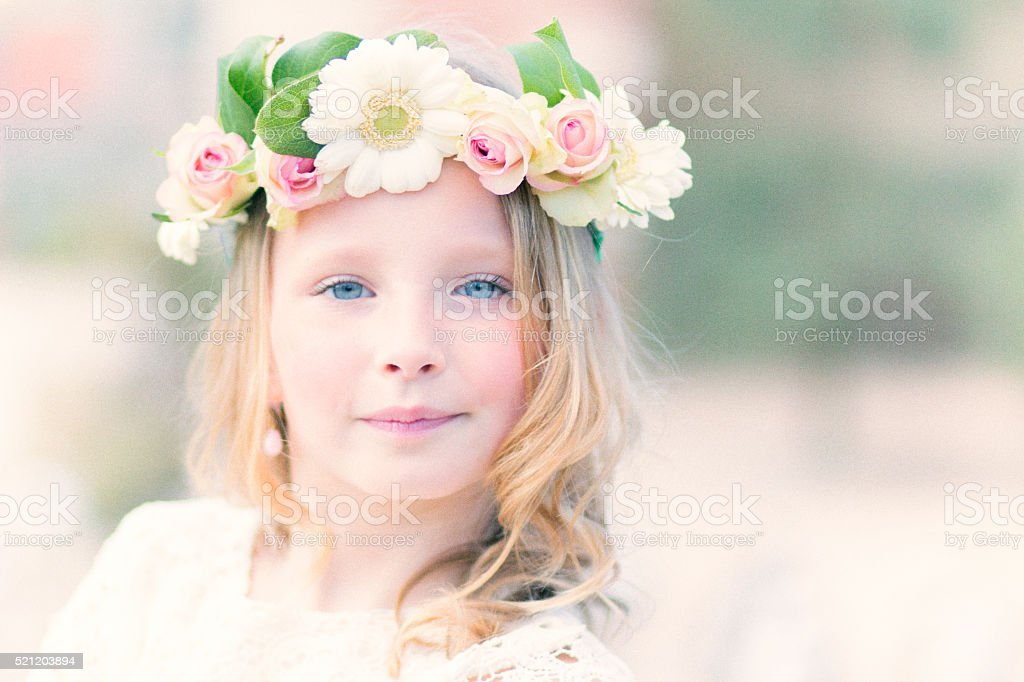 beautiful flower girl stock photo