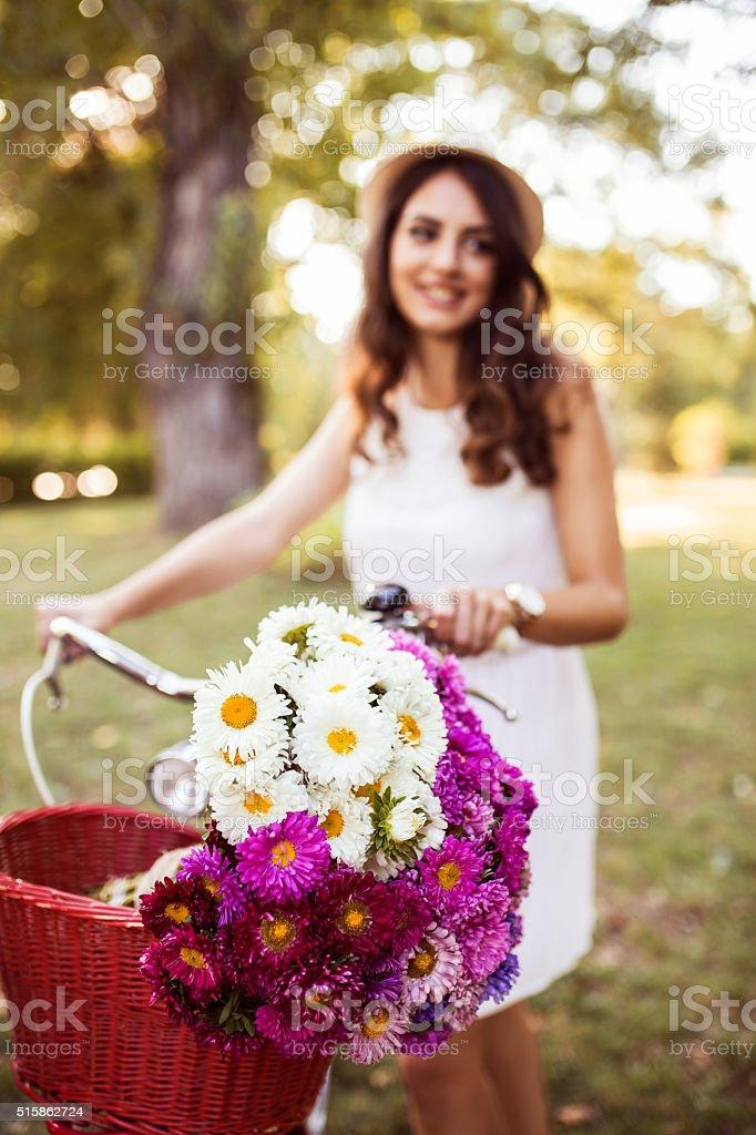 Beautiful flowers and beautiful girl stock photo