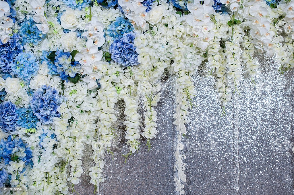 Beautiful flowers background for wedding scene stock photo