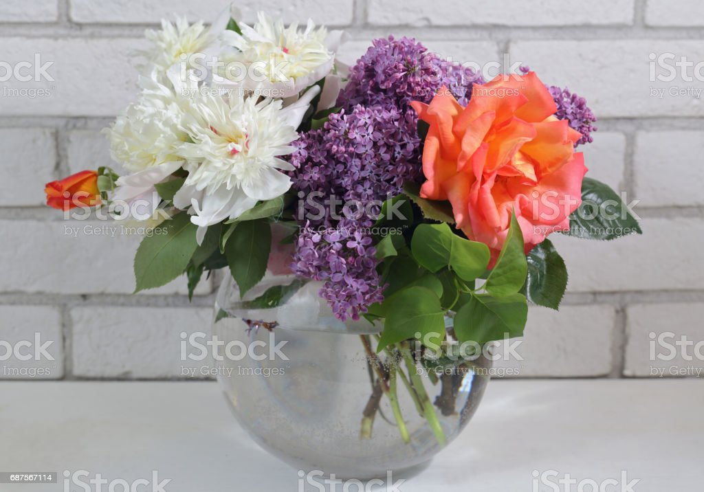 Beautiful flowers bouquet : peony, rose, lilac. Spring wedding decoration idea stock photo