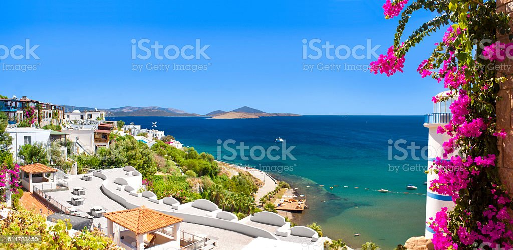Beautiful flowers frame a sea view of Ortakent, Bodrum, Turkey stock photo
