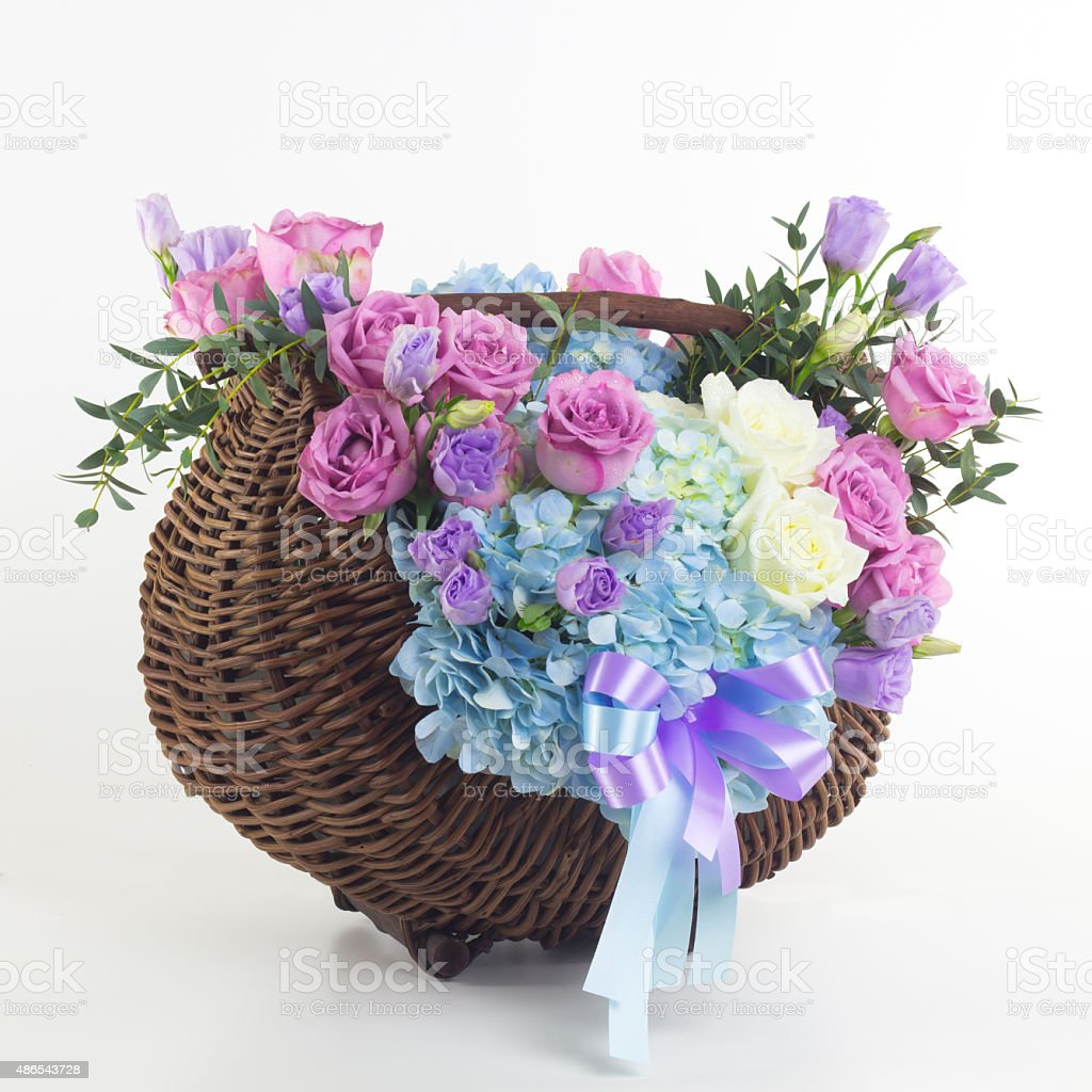 Beautiful Flowers In Basket Isolated Stock Photo 486543728 Istock