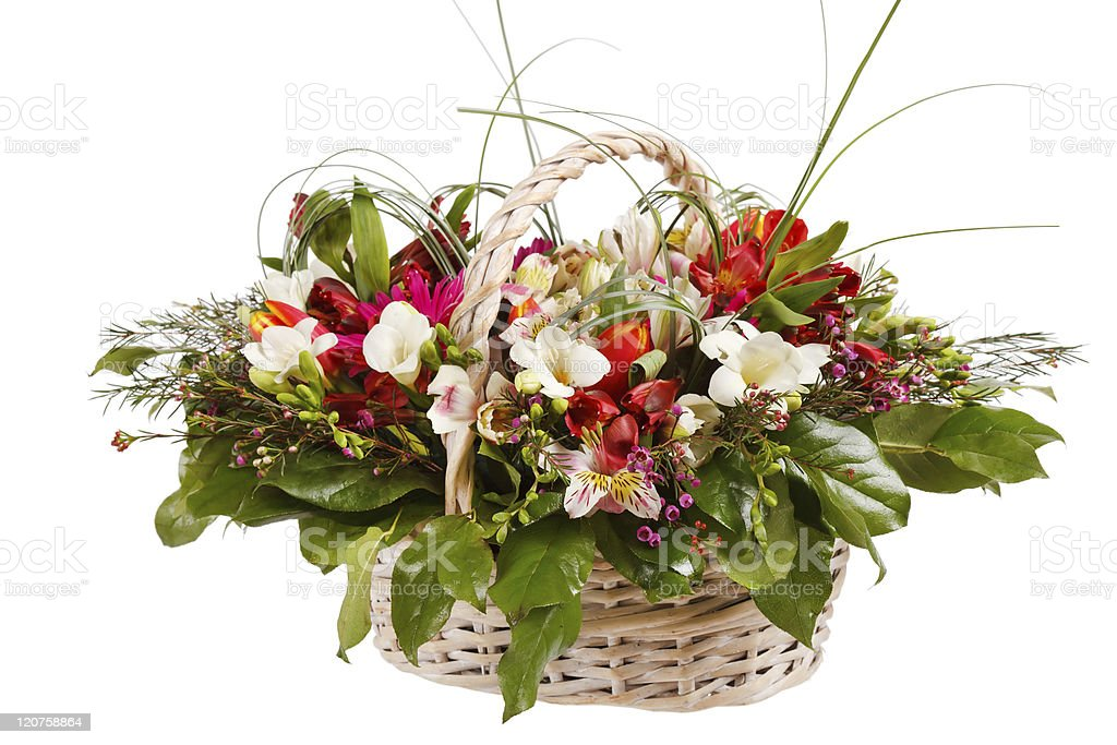 beautiful flowers in the basket royalty-free stock photo
