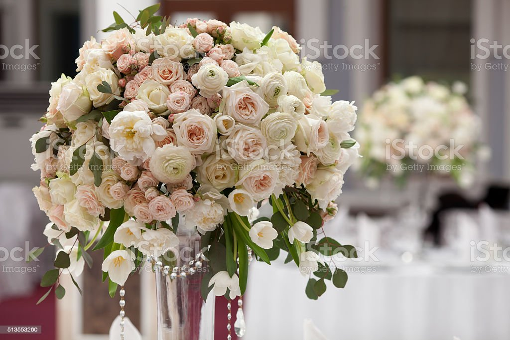 Beautiful flowers on table in wedding day. Luxury holiday background. stock photo