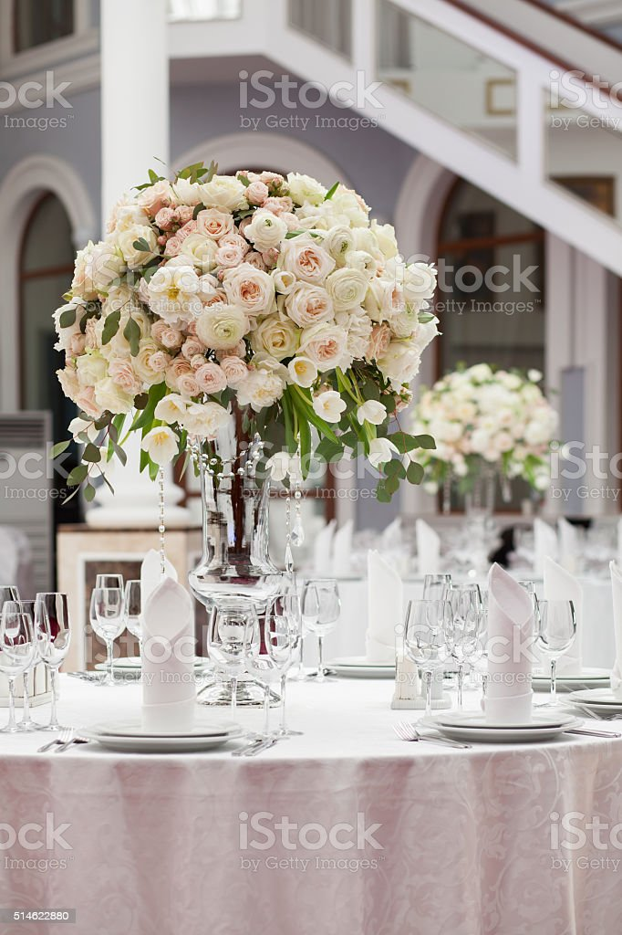 Beautiful flowers on table in wedding day. Luxury holiday background stock photo
