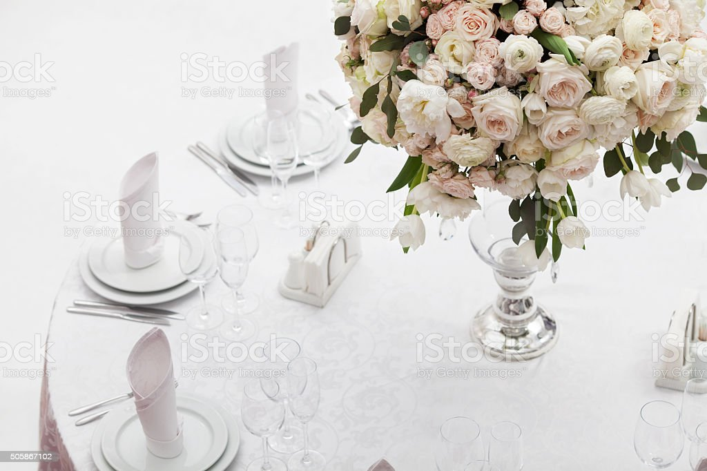 Beautiful flowers on table in wedding day. stock photo
