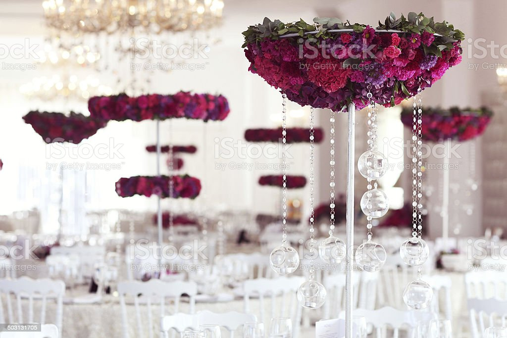 Beautiful flowers on wedding table decoration arrangement stock photo