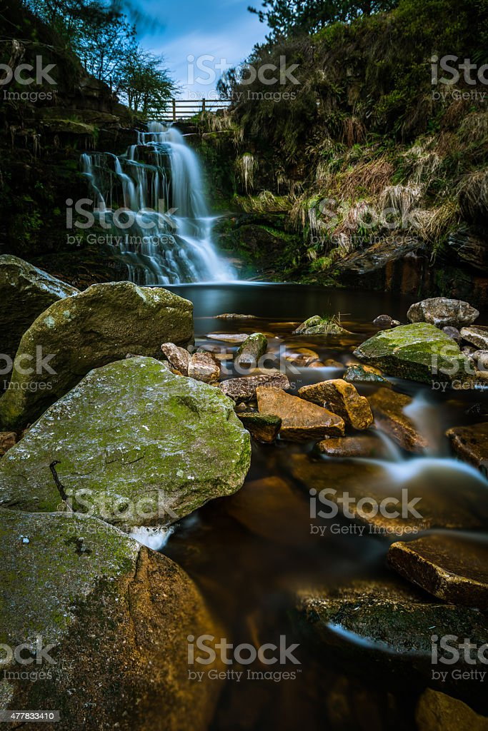 Beautiful Flowing Waterfall In The British Countryside. stock photo