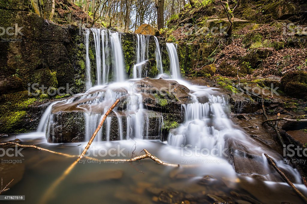 Beautiful Flowing Waterfall In The English Woodland. stock photo