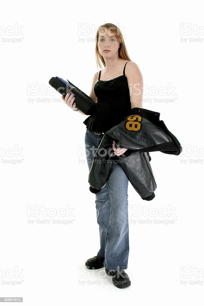 Beautiful Fourteen Year Old Student With Boyfriend Letter Jacket stock photo