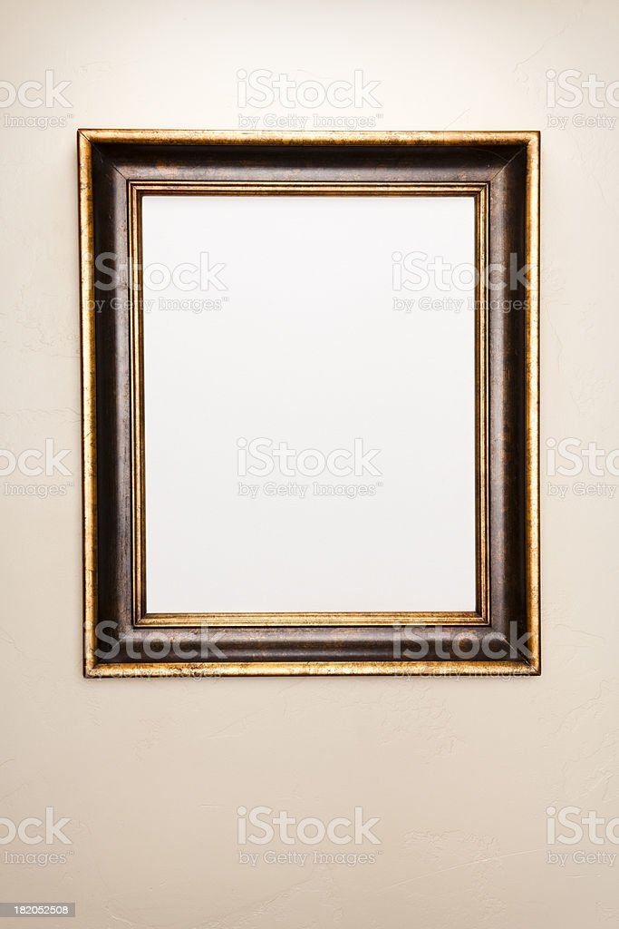 Beautiful Frame hanging on wall with white canvas stock photo