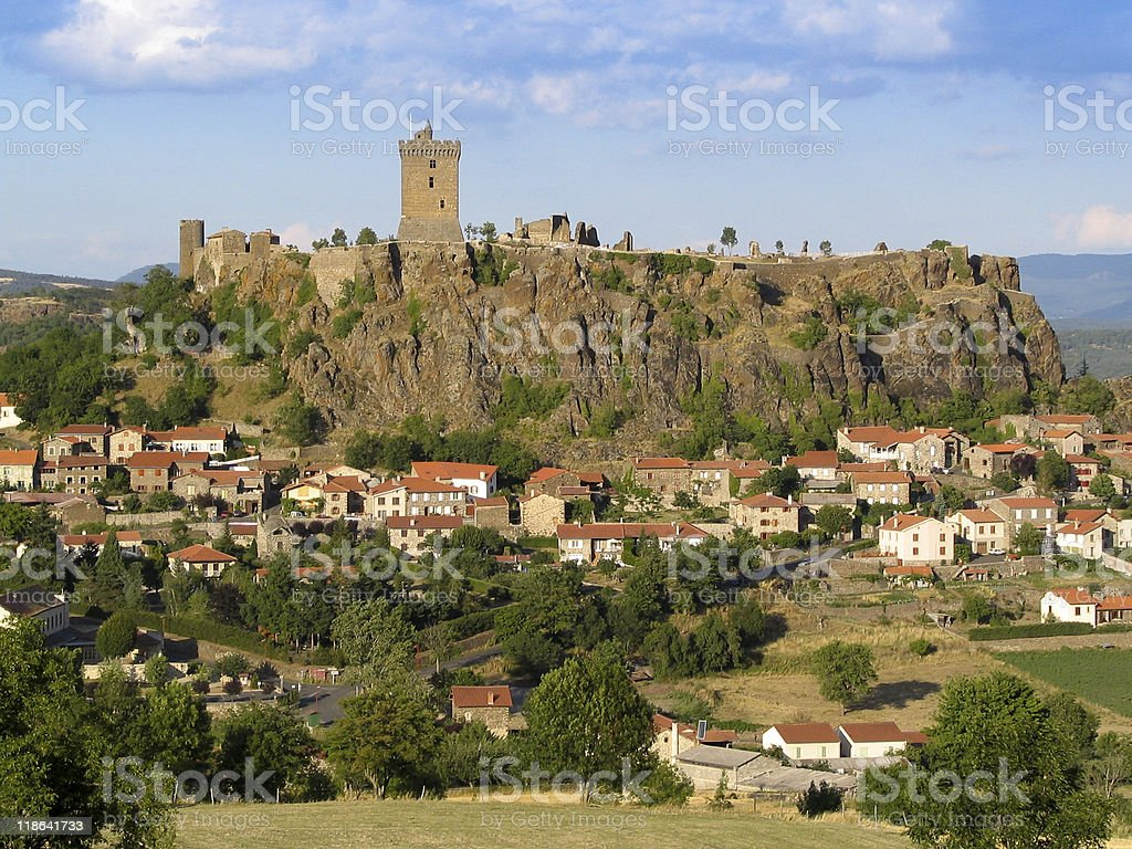 Beautiful french fortification above a town stock photo
