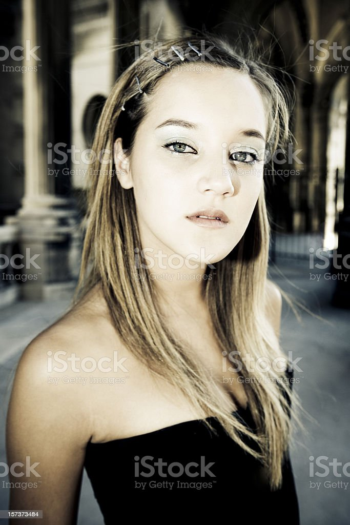Beautiful French Woman Fashion Portrait royalty-free stock photo