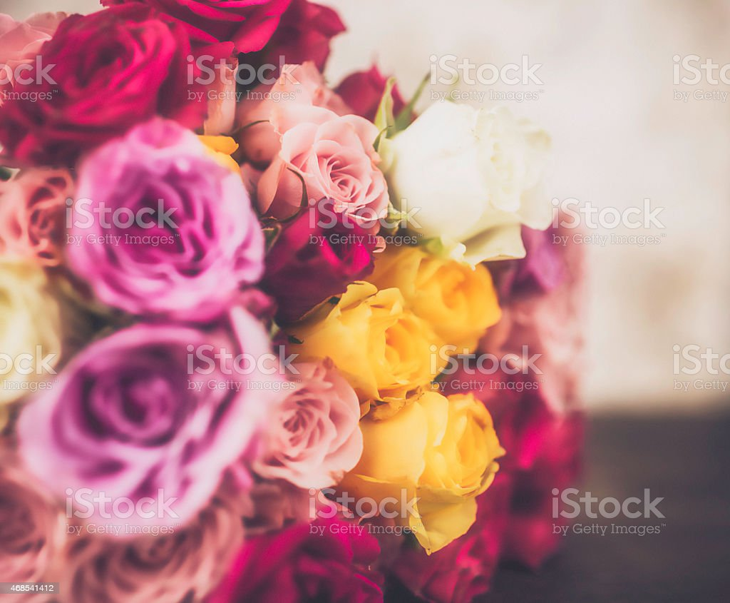 Beautiful fresh cut rose bouquet for Mother's Day stock photo