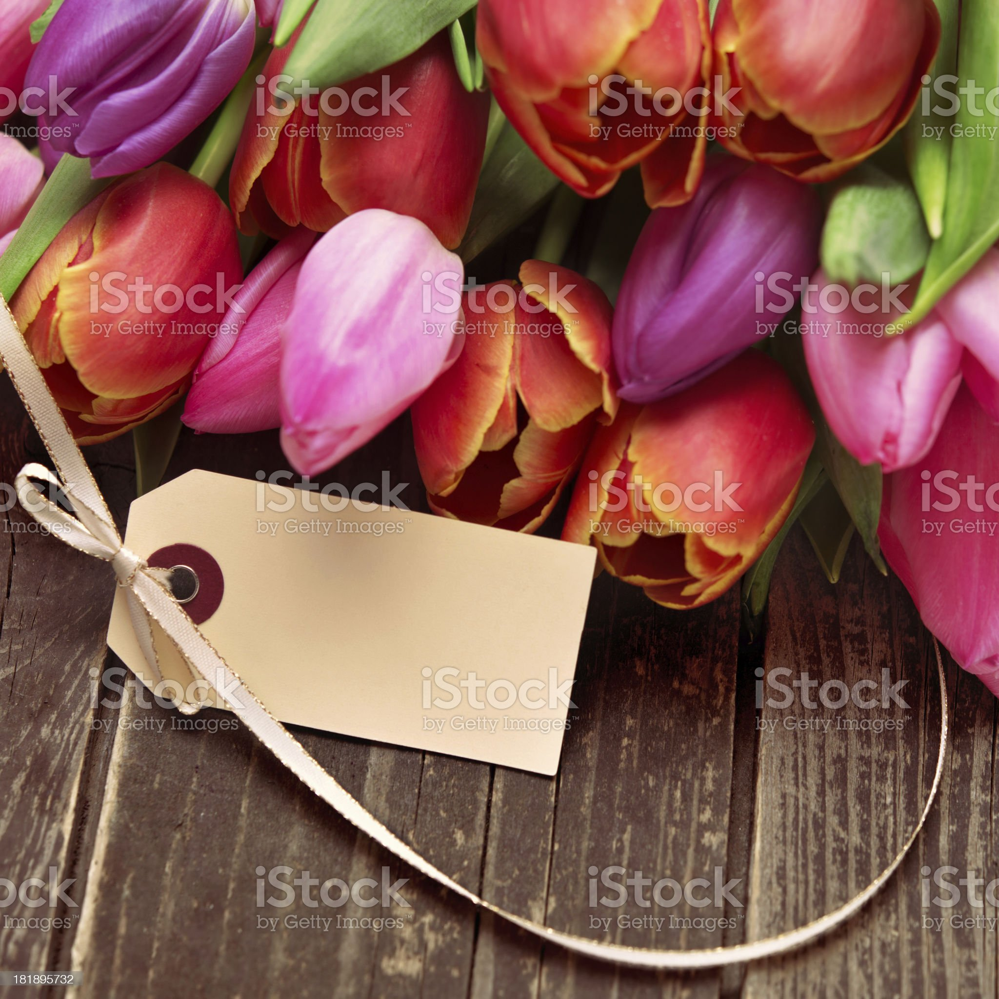 Beautiful fresh flower bouquet with an empty card royalty-free stock photo